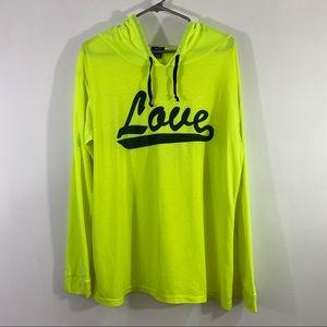 Rue 21 Men Hooded Shirt Neon Love Print Sz XL